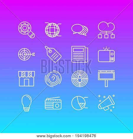 Vector Illustration Of 16 Advertising Icons. Editable Pack Of Announcement, Analysis, Aiming And Other Elements.
