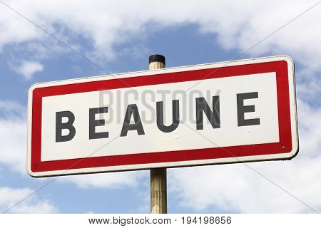 Beaune city road sign in Burgundy, France