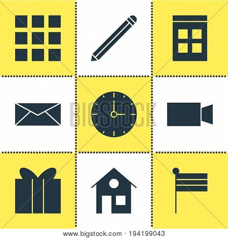 Vector Illustration Of 9 Web Icons. Editable Pack Of Gift, Pen, Clock And Other Elements.