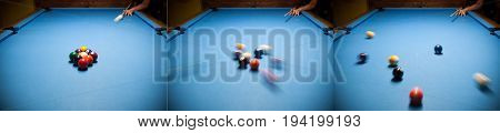 Blue billiard table with colorful balls beginning of game slow motion soft focus snooker bar entertainment in nightclub hobby and sport concept.Action Shot Billiards Table Pool Cue and Balls.Three pictures