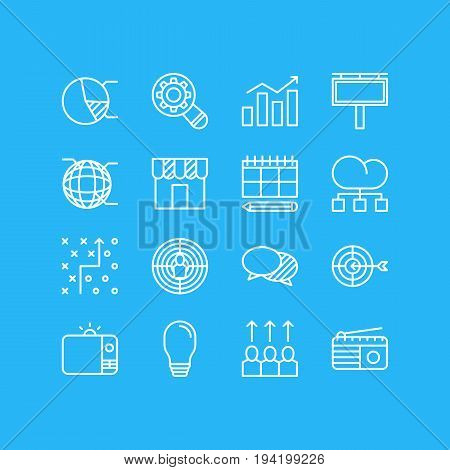 Vector Illustration Of 16 Advertising Icons. Editable Pack Of Lamp, Advertising Billboard, Discussing And Other Elements.