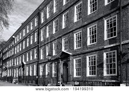 London, UK, December 9, 2010 : Monochrome image of Regency Georgian terraced barrister chambers law offices at the Inns Of Court in The Temple in the heart of the city
