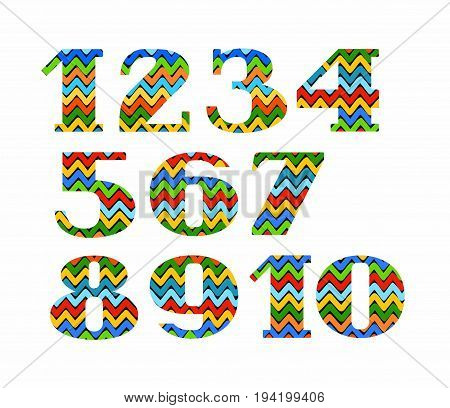 Numbers, colour, zigzag, vector.  Figures with serifs. Vector font. The colored, broken lines on a black background. Figures on a white background.