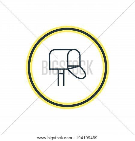 Vector Illustration Of Postbox Outline. Beautiful  Element Also Can Be Used As Mail Box Element.