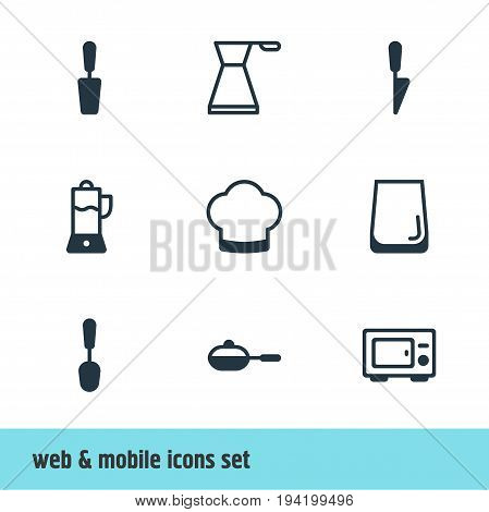 Vector Illustration Of 9 Kitchenware Icons. Editable Pack Of Fruit Squeezer, Kitchen Dagger, Glass Cup And Other Elements.
