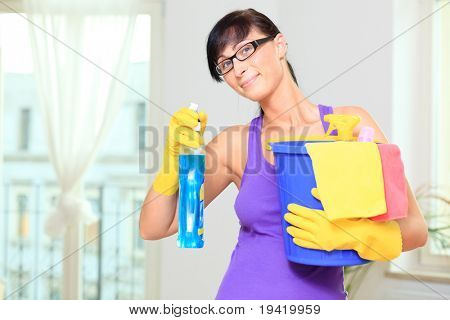 Room cleaning woman making the houshold at home as household housekeeping wife