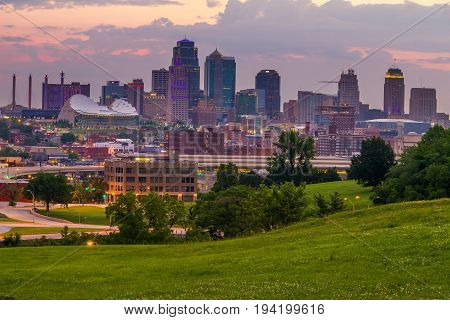 View of Kansas City Missouri skyline at dawn with all registered trademarks removed.