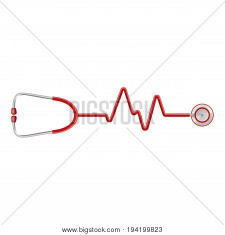 Stethoscope In The Shape Of A Heart Beat On A Ekg Isolated On A White Background. Realistic Vector Illustration. Medicine.