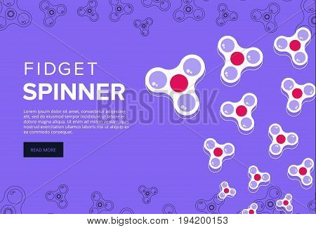 Fidget Spinner Web Banner Ad In Flat Vector Design. Trendy Hipster Hand Toy Icon. Anti Stress Fun Ga