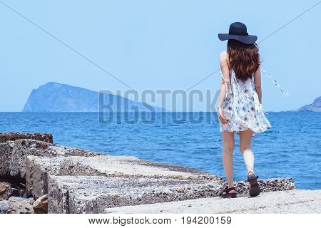 Beautiful, Amazing Dreamy Girl, Walks Along The Stone Pier, Enjoying The Gusts Of The Wind, Bronze S