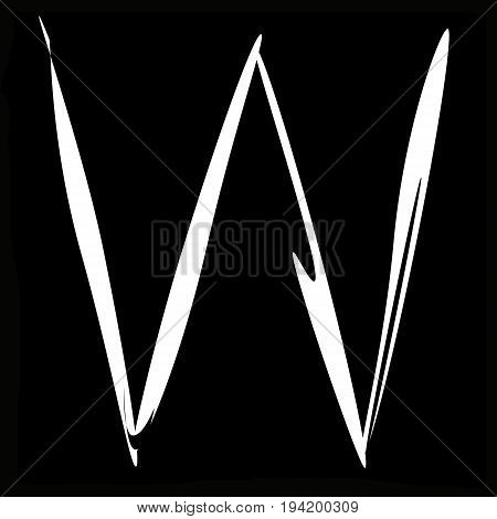 The letter W on a black background