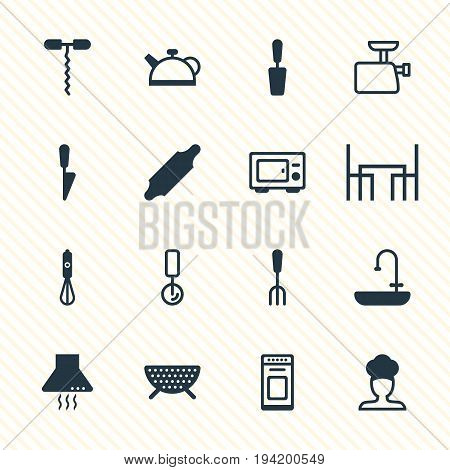 Vector Illustration Of 16 Restaurant Icons. Editable Pack Of Mincer, Oven , Handmixer Elements.