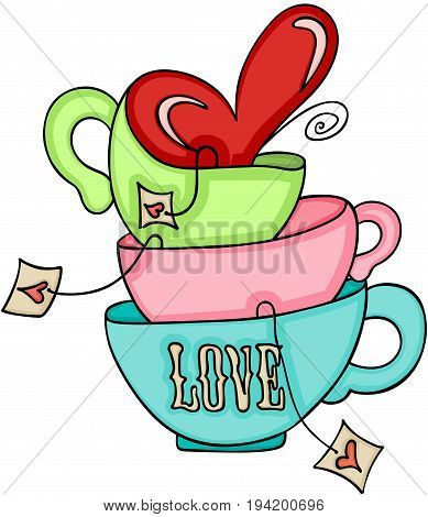 Scalable vectorial image representing a tea cups love, isolated on white.
