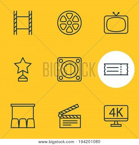 Vector Illustration Of 9 Movie Icons. Editable Pack Of Coupon, Clapper, Tv And Other Elements.