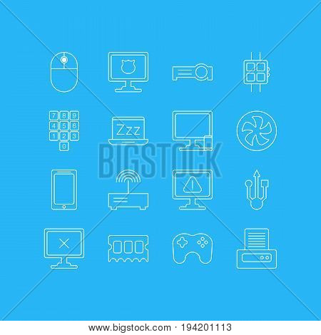 Vector Illustration Of 16 Computer Icons. Editable Pack Of Presentation, Laptop, Smartphone And Other Elements.