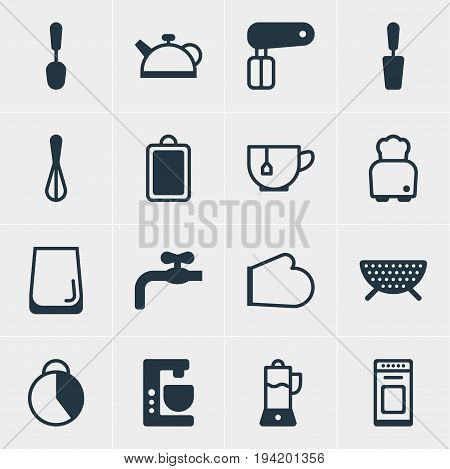 Vector Illustration Of 16 Kitchenware Icons. Editable Pack Of Faucet, Mug, Tablespoon And Other Elements.