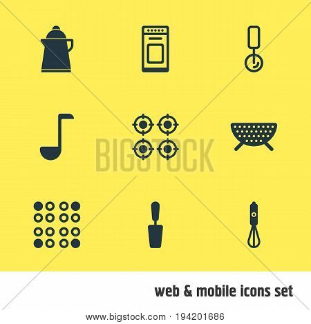 Vector Illustration Of 9 Cooking Icons. Editable Pack Of Furnace, Oven , Handmixer Elements.