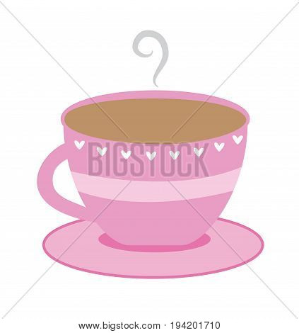 Hot Cup of Tea Coffee in Cute Pink Cup