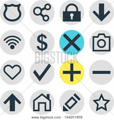 Vector Illustration Of 16 Member Icons. Editable Pack Of Mainpage, Padlock, Downward And Other Elements.