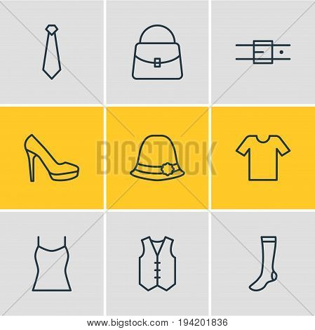 Vector Illustration Of 9 Dress Icons. Editable Pack Of Panama, Singlet, Sandal Elements.