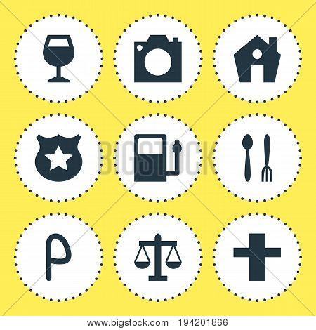 Vector Illustration Of 9 Location Icons. Editable Pack Of Wineglass, Photo Device, Cross And Other Elements.