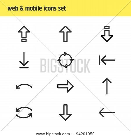 Vector Illustration Of 12 Arrows Icons. Editable Pack Of Up, Upwards, Left And Other Elements.