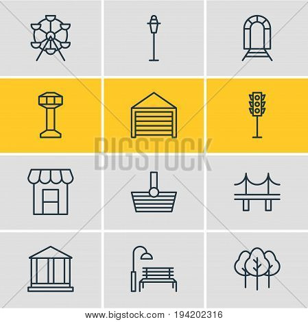 Vector Illustration Of 12 Infrastructure Icons. Editable Pack Of Lamppost, Basket, Bench And Other Elements.