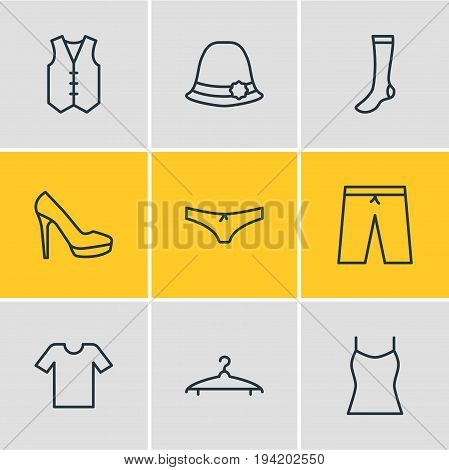 Vector Illustration Of 9 Garment Icons. Editable Pack Of Waistcoat, Hosiery, Casual And Other Elements.