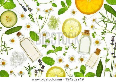 Fresh herbs,fruits and essential oil on white background