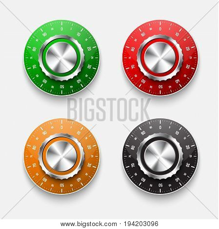 Set Of Mechanical Safe Locks With A  Colored Round Dial.