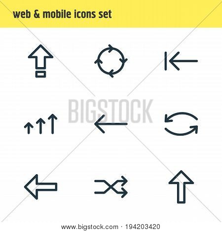 Vector Illustration Of 9 Sign Icons. Editable Pack Of Left, Tab, Direction And Other Elements.