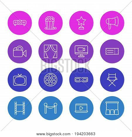 Vector Illustration Of 16 Film Icons. Editable Pack Of Television, Filmstrip, Movie Reel And Other Elements.