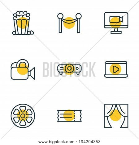 Vector Illustration Of 9 Cinema Icons. Editable Pack Of Television, Slideshow, Coupon And Other Elements.