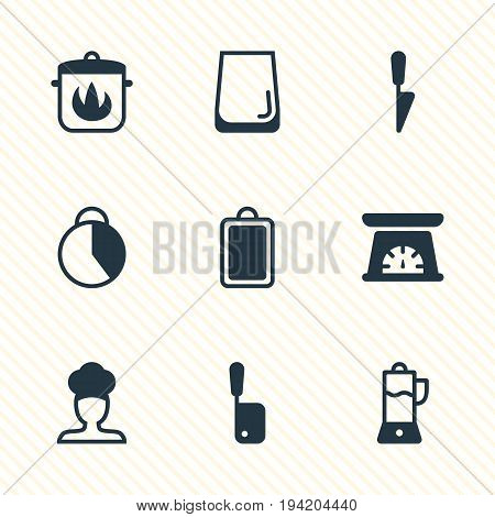 Vector Illustration Of 9 Restaurant Icons. Editable Pack Of Stewpot, Chopping Desk, Glass Cup And Other Elements.