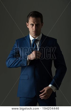 Ceo Man With Stylish Hair Posing In Fashionable Suit