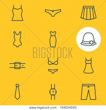 Vector Illustration Of 12 Clothes Icons. Editable Pack Of Evening Dress, Sarafan, Swimwear And Other Elements.