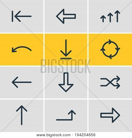 Vector Illustration Of 12 Direction Icons. Editable Pack Of Direction, Increase, Download And Other Elements.