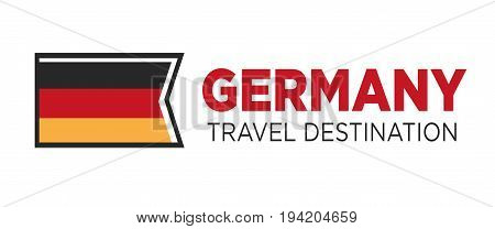 Germany travel destination poster with national trichromatic flag isolated vector illustration on white background. Tourism to European country with ancient history and amazing architecture promotion.