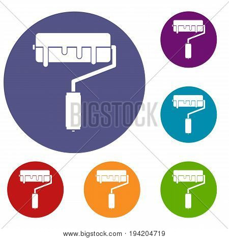 Paint roller with paint icons set in flat circle reb, blue and green color for web