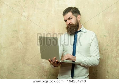 businessman or bearded man with long beard and stylish hair on smiling face in tie and white shirt hold laptop on textured beige background digital marketing and business agile business