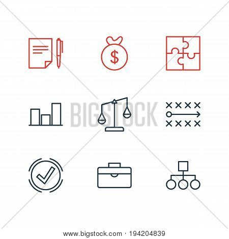 Vector Illustration Of 9 Business Icons. Editable Pack Of Scheme, Balance, Riddle And Other Elements.