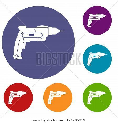 Hand drill icons set in flat circle reb, blue and green color for web
