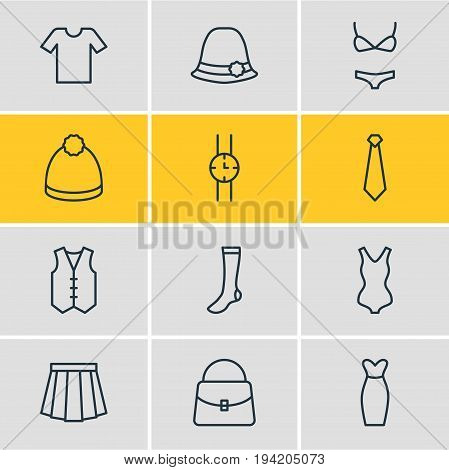 Vector Illustration Of 12 Dress Icons. Editable Pack Of Pompom, Swimwear, Hosiery And Other Elements.