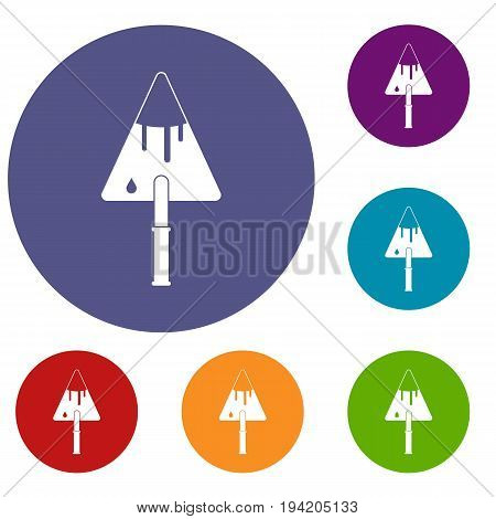 Construction trowel icons set in flat circle reb, blue and green color for web