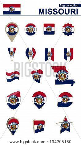 Missouri Flag Collection. Big Set For Design.