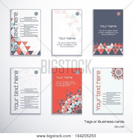 Set of six vertical business cards or tags. Multicolored triangles and grid. Complied with the standard sizes.