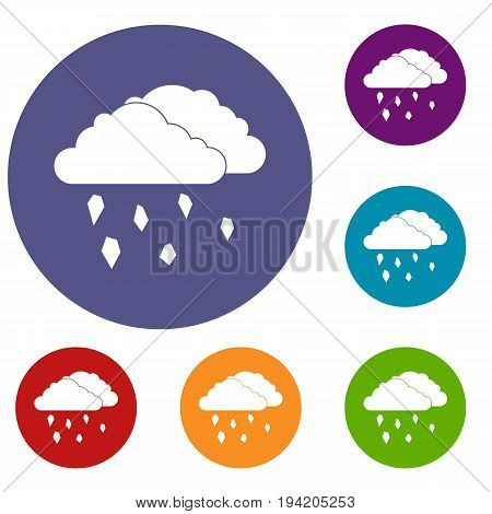 Clouds and hail icons set in flat circle reb, blue and green color for web