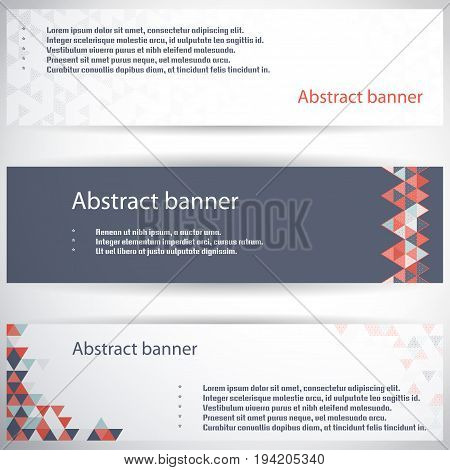 Set of three horizontal banners. Multicolored triangles and grid. Complied with the standard sizes.