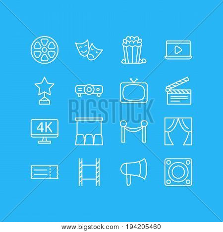 Vector Illustration Of 16 Movie Icons. Editable Pack Of Tv, Reward, Megaphone And Other Elements.