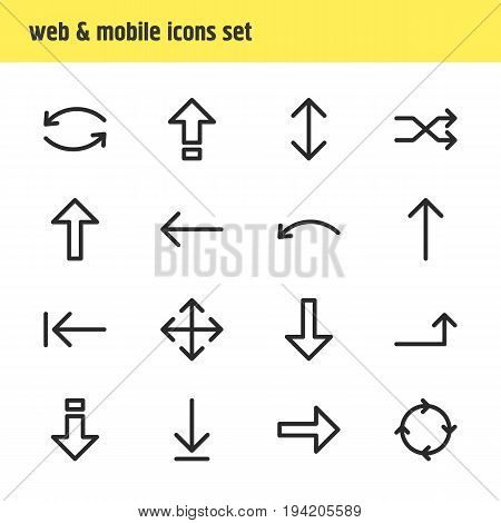 Vector Illustration Of 16 Direction Icons. Editable Pack Of Left, Exchange, Update And Other Elements.